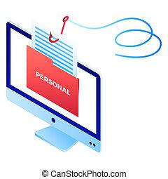 phishing, persoonlijk, info, pictogram, isometric, stijl
