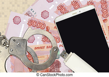 phishing, russe, factures, attaques, handcuffs., hackers, ou, scam, malware, smartphone, 5000, distribution, rubles, doux, illégal, concept, police