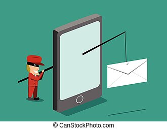 phishing, scammer, mobile, vecteur, envoyer, téléphone, courrier