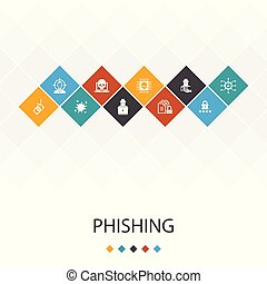phishing trendy UI template infographics concept. attack, hacker, cyber crime, icons