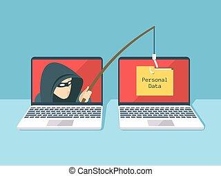 phishing, vector, ataque, pirata informático, scam, tela, concepto, seguridad