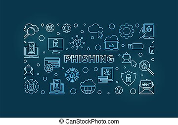 Phishing vector concept linear blue horizontal illustration