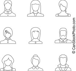 Phiz icons set, outline style - Phiz icons set. Outline set...