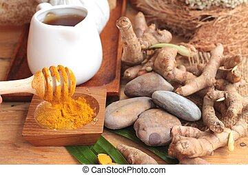 Phlai herb, Cassumunar ginger both fresh and as a powder for...
