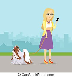 Phlegmatic Temperament Type Girl with Dog.