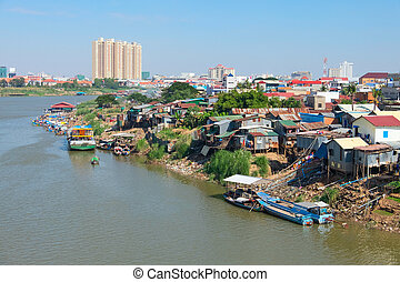 Phnom Penh the capital of Cambodia and the Mekong river