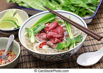 pho bo, vietnamese beef rice noodle soup, vietnamese food