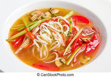pho, bo, vietnamita, sopa, com, noodles arroz, carne, e,...