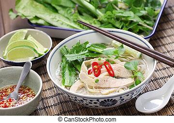 pho, ga, vietnamita, galinha, arroz, noo