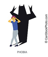 Phobia concept on white background, flat design vector ...