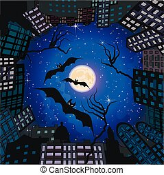 Phobia in city at night. - Skyline in form of circle with ...
