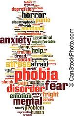 Phobia word cloud concept. Vector illustration