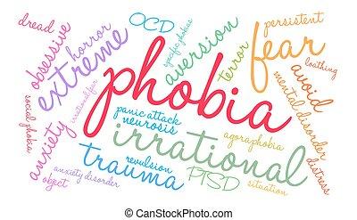 Phobia Word Cloud - Phobia word cloud on a white background.