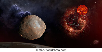 phobos, in, den, utrymme, över, mars