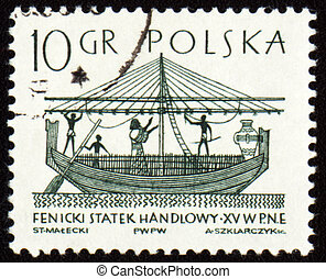 Phoenician merchant ship on post stamp - POLAND - CIRCA...
