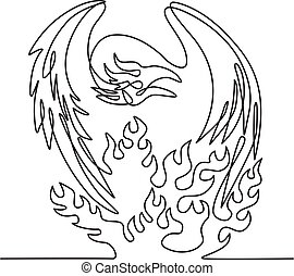 Continuous line drawing illustration of a phoenix, a mythological bird that cyclically regenerates or is otherwise born again, on fire  front view done in sketch or doodle black and white style.