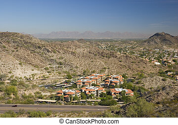 Red Roof Houses in Phoenix, Arizona, as seen from North Mountain
