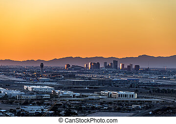 Phoenix Arizona City Overlook at sunset