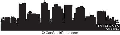phoenix, arizona, skyline., detalhado, vetorial, silueta