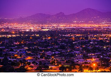 Phoenix Arizona Suburbs at Night. Phoenix, United States....