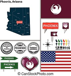 Phoenix, Arizona - Vector set of Phoenix Arizona in USA with...