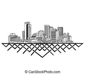 Phoenix, AZ Skyline. Black and white vector illustration EPS...