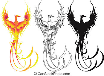 Phoenix bird collection - Vector illustration of phoenix ...