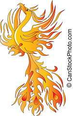 Phoenix bird - Mythical phoenix bird vector illustration