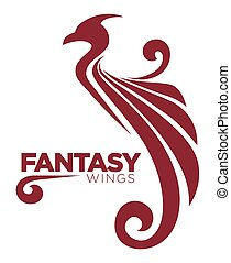 Phoenix bird or fantasy eagle logo template for security or innovation company.