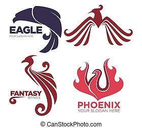 Phoenix bird or fantasy eagle logo templates set for...