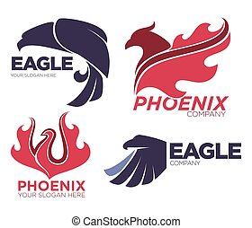 Phoenix bird or fantasy eagle logo templates set for security or innovation company.