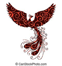 Phoenix bird pattern silhouette ancient mythology fantasy....