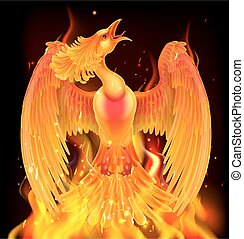Phoenix Bird Rising From Ashes - A phoenix bird rising from...