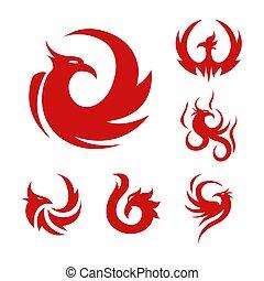 Phoenix bird stylized graphic red logo set of six - Phoenix,...