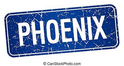 Phoenix blue stamp isolated on white background