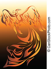 Phoenix - Rising phoenix bird vector illustration