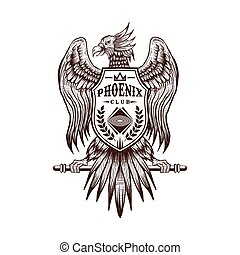 phoenix, club, vettore, disegnare, mano, illustrazione