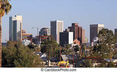 Skyscrapers and Single Family Houses Roofs in Downtown of Phoenix, AZ