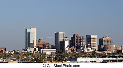 Panorama of Highrise Buildings in Downtown of Phoenix, AZ