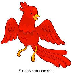 Phoenix - Illustration of a Red Phoenix in Flight