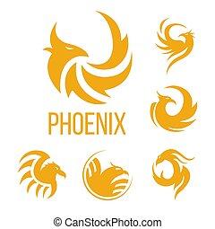 Phoenix fantasy bird and flame wings vector icons - Phoenix...