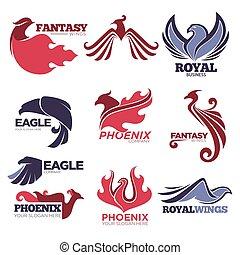 Phoenix fire bird fantasy eagle vector template company icons set