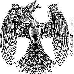 Phoenix Fire Bird in Vintage Woodcut Style