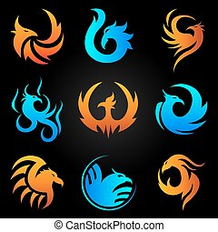 Phoenix fire bird vector template icons set