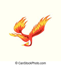 Phoenix, flaming fairytale firebird flying vector...