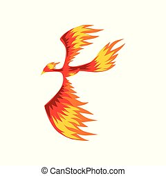 Phoenix, flaming firebird flying vector Illustration on a...