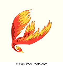 Phoenix, flaming mythical firebird flying vector Illustration on a white background