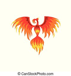 Phoenix, flaming mythical firebird vector Illustration on a...