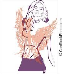 phoenix girl, abstract, concept