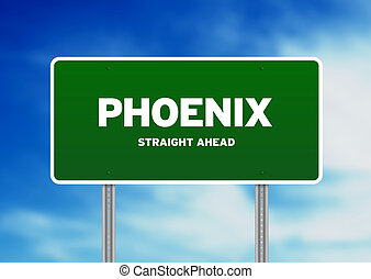 Phoenix Highway Sign - High resolution graphic of a Phoenix...